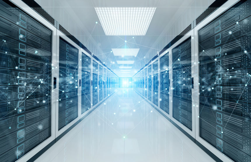 A visual concept image of connection network in white servers data center room storage systems (123rf)