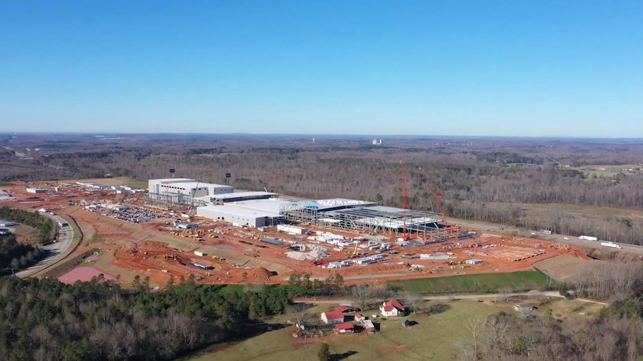 SK Innovation Co.'s electric vehicle battery factory is under construction in the US state of Georgia in this photo provided by the Korean battery maker on Feb. 16, 2021. (SK Innovation Co.)