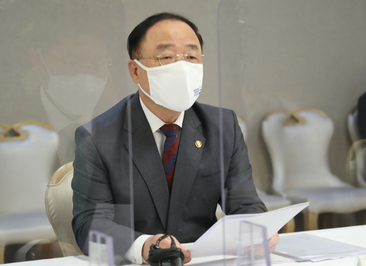 Finance Minister Hong Nam-ki speaks during a ministerial-level meeting on real estate at the government complex in Seoul, Thursday. (Yonhap)