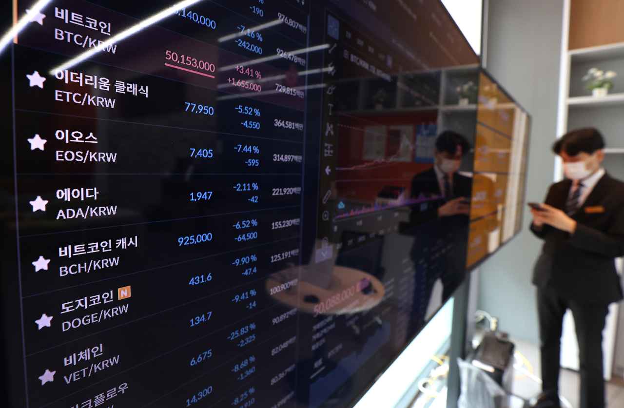 A digital display shows cryptocurrency prices at Bithumb on Thursday. (Yonhap)