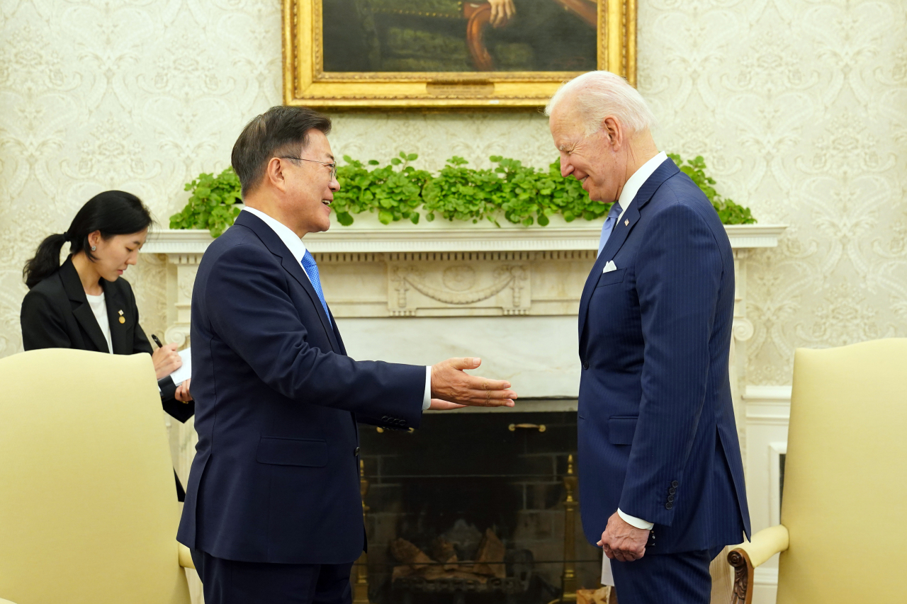South Korean President Moon Jae-in (left) holds talks with US President Joe Biden at the Oval Office of the White House in Washington on Friday.