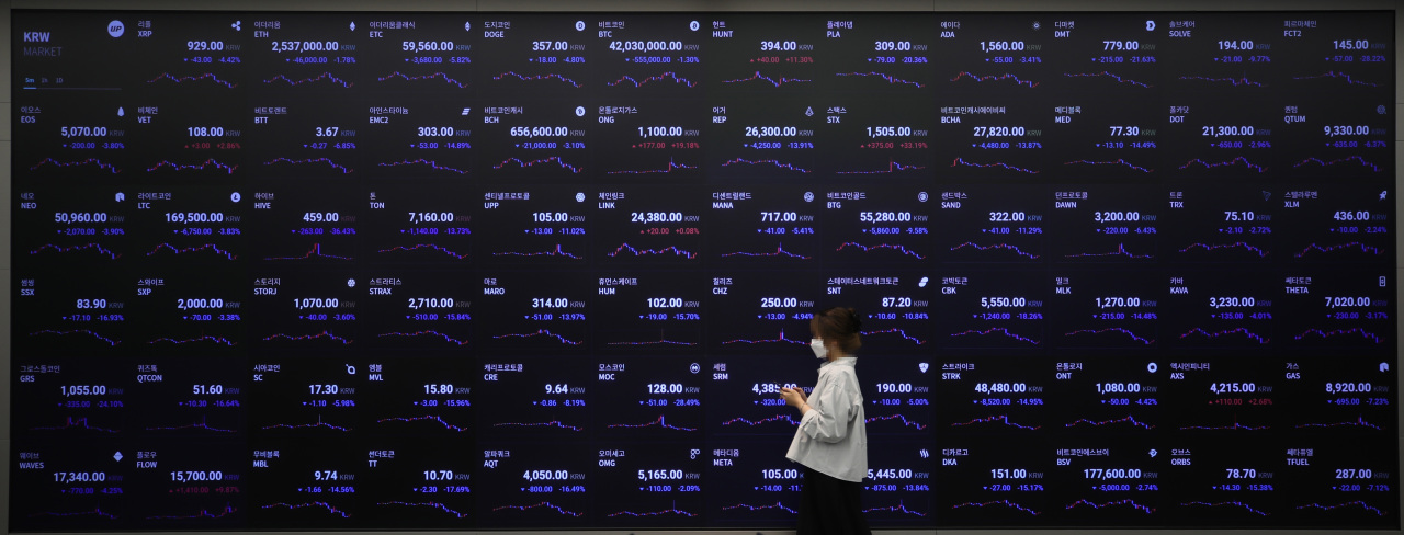 A woman walks past digital boards displaying cryptocurrency prices at Upbit on Monday. (Yonhap)