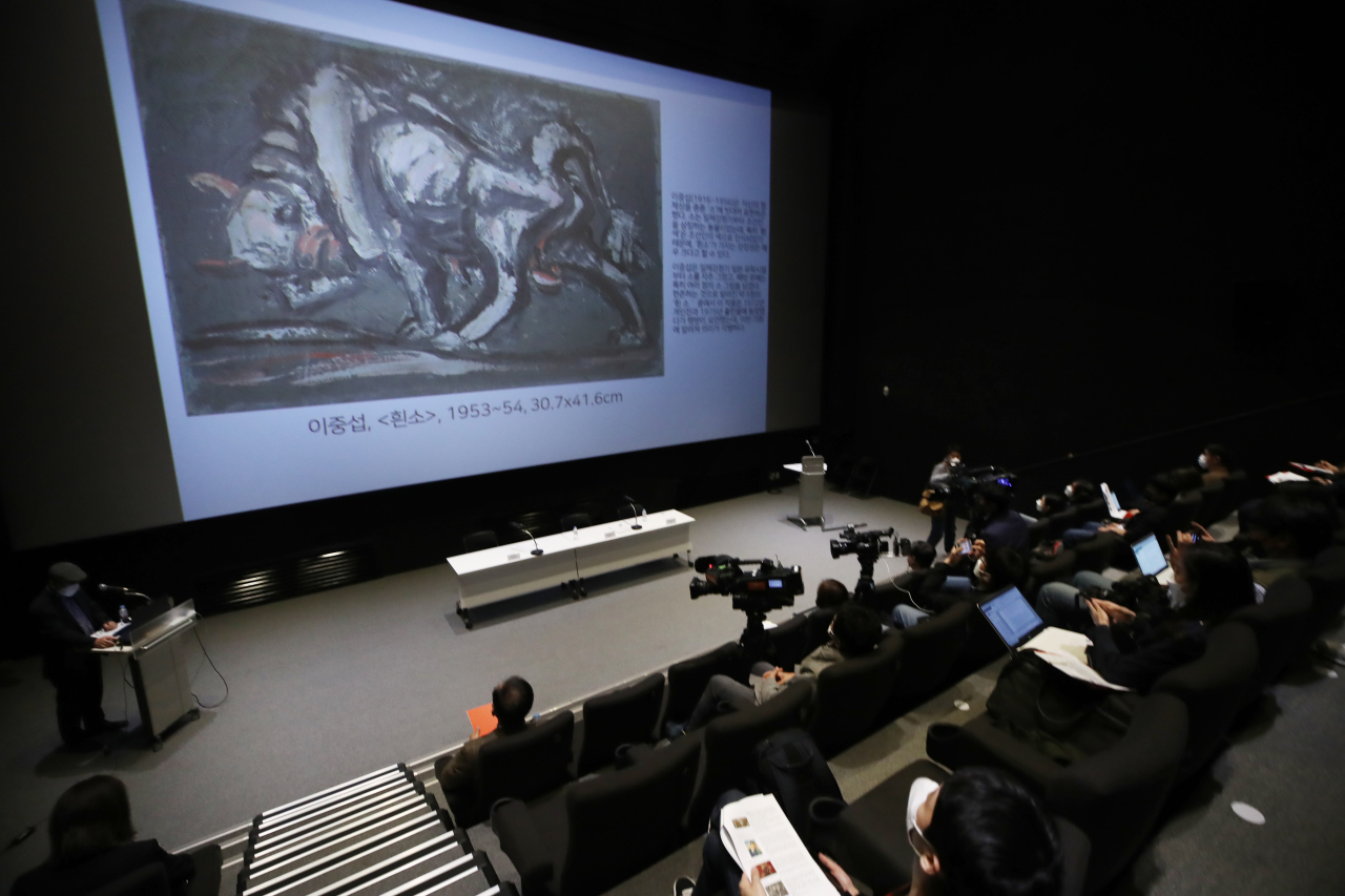 Youn Bum-mo, the director of the MMCA speaks at a press event held at the Seoul branch of the museum in Samcheong-dong, central Seoul on May 7, 2021. (Yonhap)