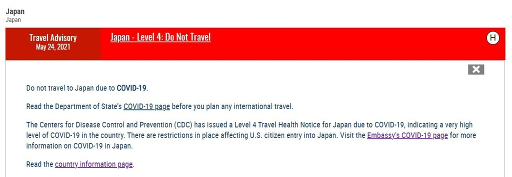 The image captured from the website of the US State Department shows the latest travel advisory issued for Japan on Monday, that advises US citizens not to travel to Japan due to the COVID-19 pandemic. (Yonhap)