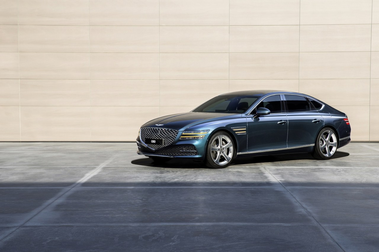 Genesis' G80 sedan is seen in this file photo provided by the South Korean luxury car maker on May 12, 2021. (Hyundai Motor Co.)