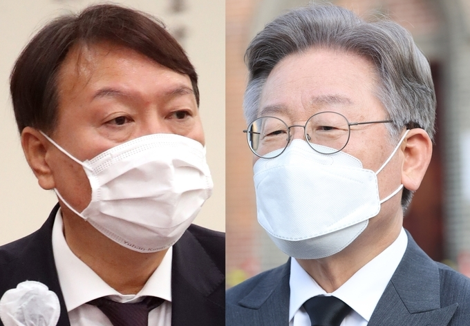 This composite file photo shows former Prosecutor General Yoon Seok-youl (L) and Gyeonggi Governor Lee Jae-myung, two leading candidates for the next presidential election. (Yonhap)