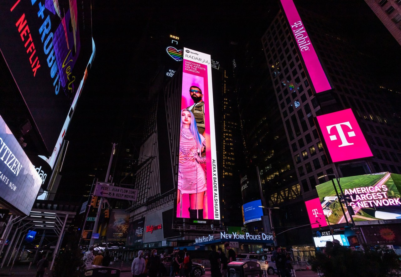 """A billboard placement in New York's Times Square promotes AleXa and Kuwaiti-Saudi-based singer Bader AlShuaibi's new single """"Is It On"""" on May 21. (Spotify)"""
