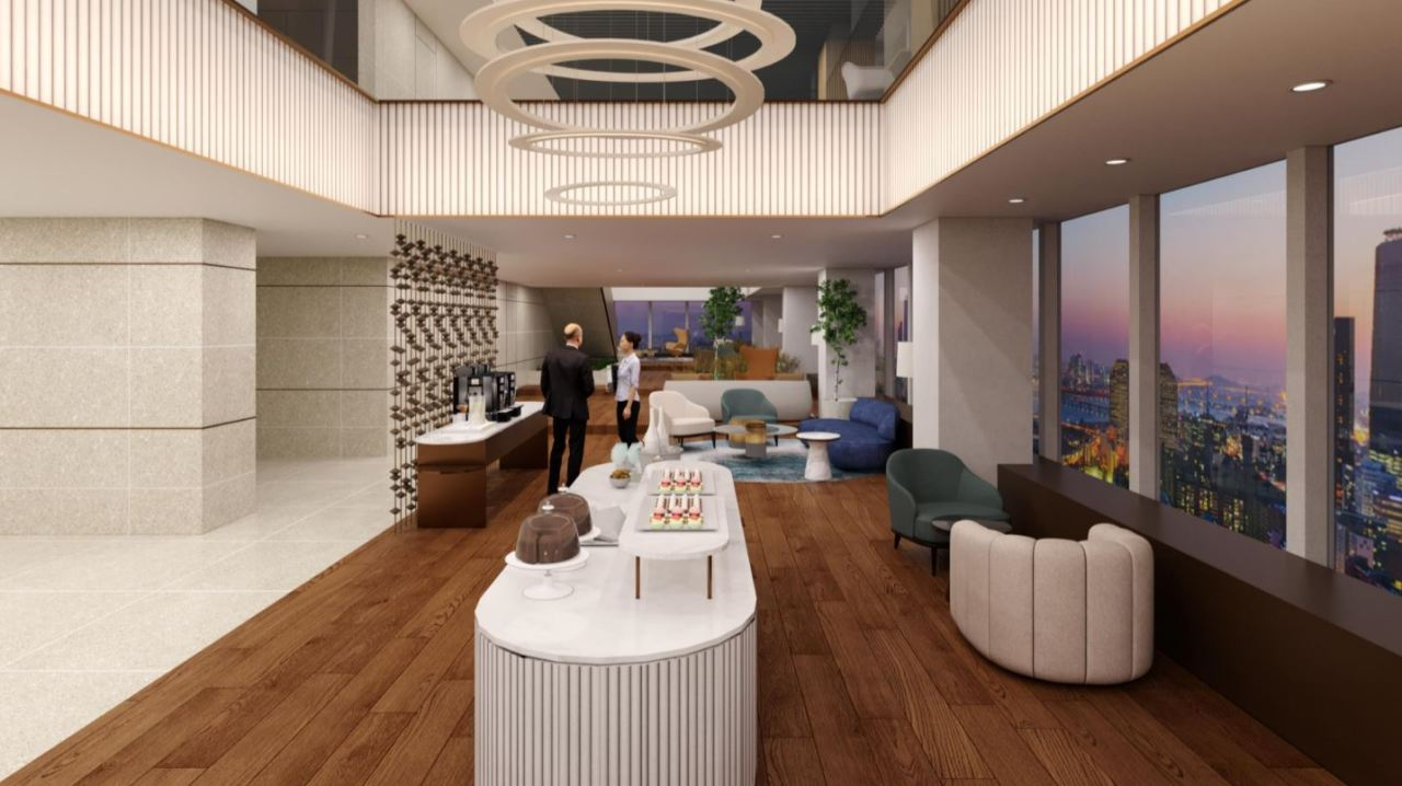 """A design concept of shared space """"The 50th,"""" which uses the 50th and 51st floors of the 63 Building. Hanwha Asset Management expects to launch the space in June. (Hanwha Asset Management)"""