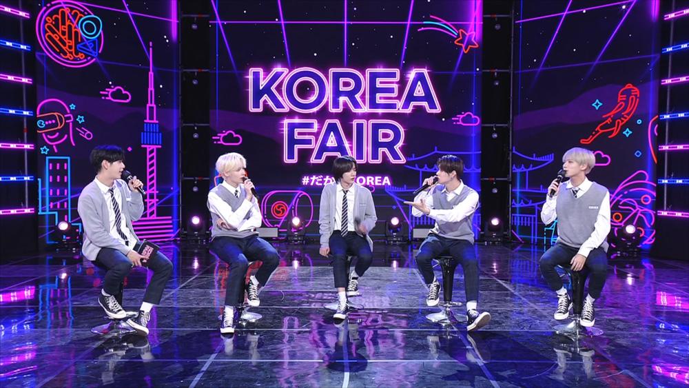 "K-pop act Tomorrow X Together holds a talk at ""Korea Fair 2021 #Dakara Korea"" organized by the Korea Tourism Organization on May 28. (KTO)"