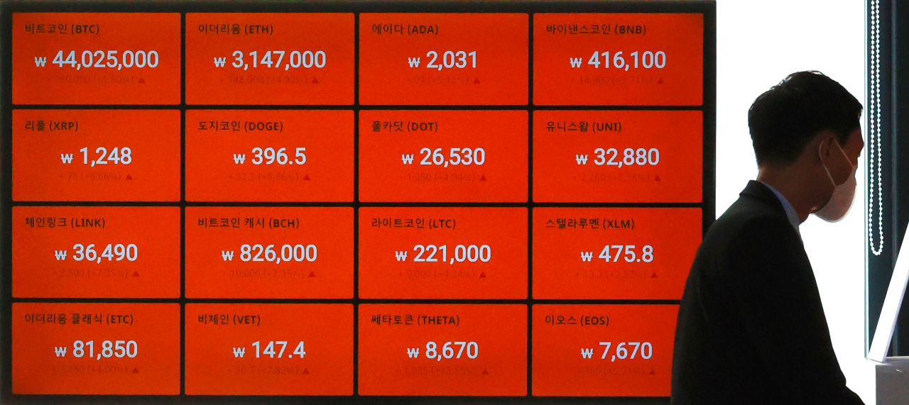 A digital board at Bithumb shows cryptocurrency prices on Tuesday. (Yonhap)