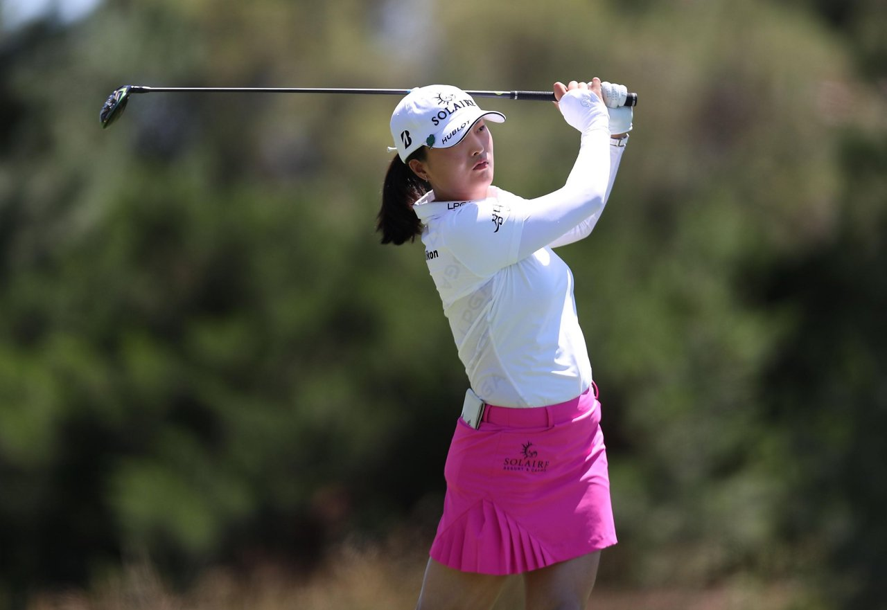 In this Getty Images photo, Ko Jin-young of South Korea tees off on the fourth hole during the third round of the Bank of Hope LPGA Match Play at Shadow Creek Golf Course in Las Vegas last Friday. (Getty Images)