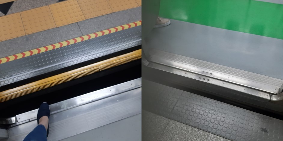 (right) The wide gap between the subway platform and the entrance to the train at Dongguk University Subway Station in Seoul presents a hazard for wheelchair users. (left) At Euljiro 1-ga Subway Station in Seoul, there is a significant height difference between the subway platform and the entrance to the train. (Shin Ji-hye/The Korea Herald)