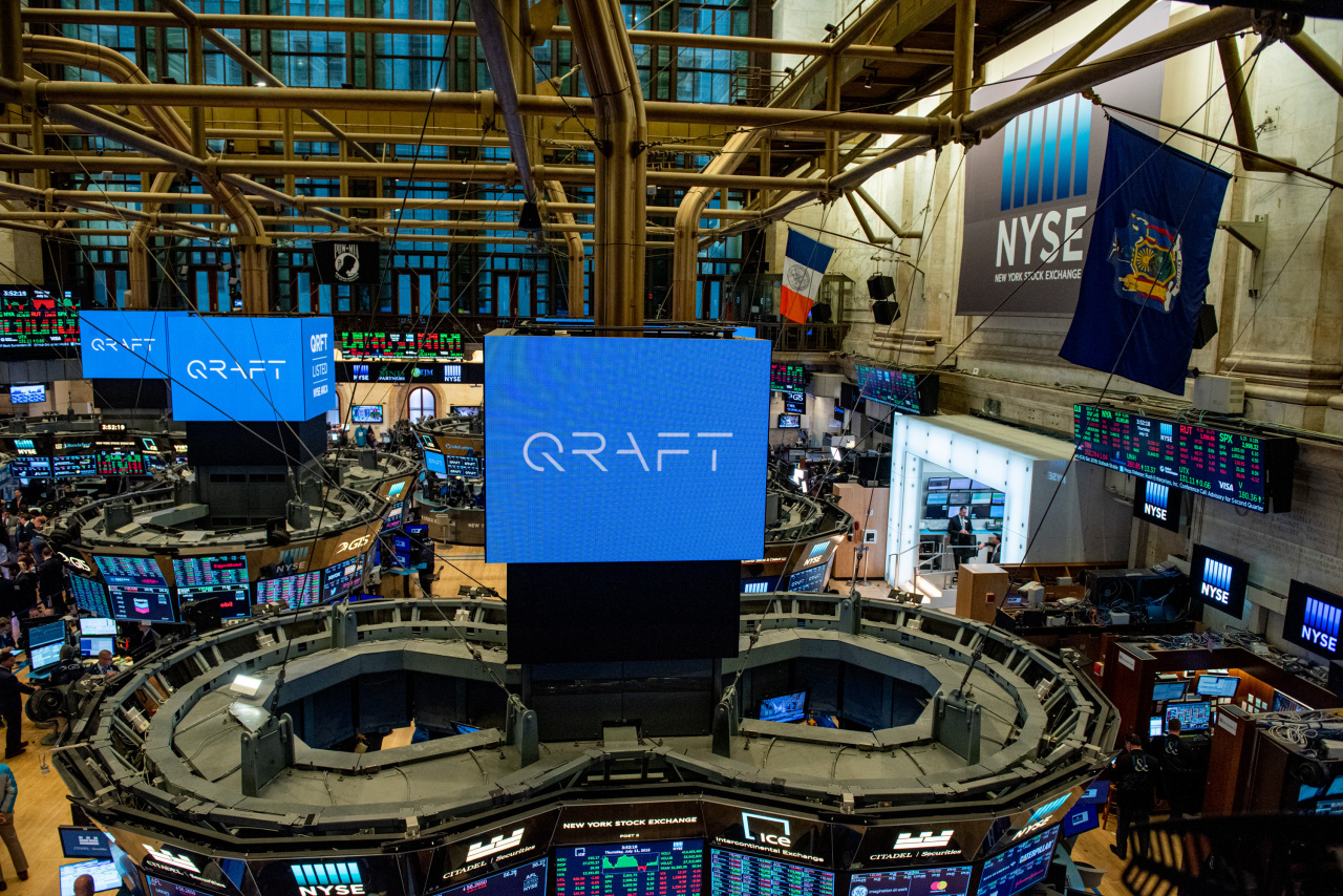 A Qraft Technologies logo is displayed on the New York Stock Exchange on the debut day of its exchange-traded fund products in May 2019. (Qraft Technologies)