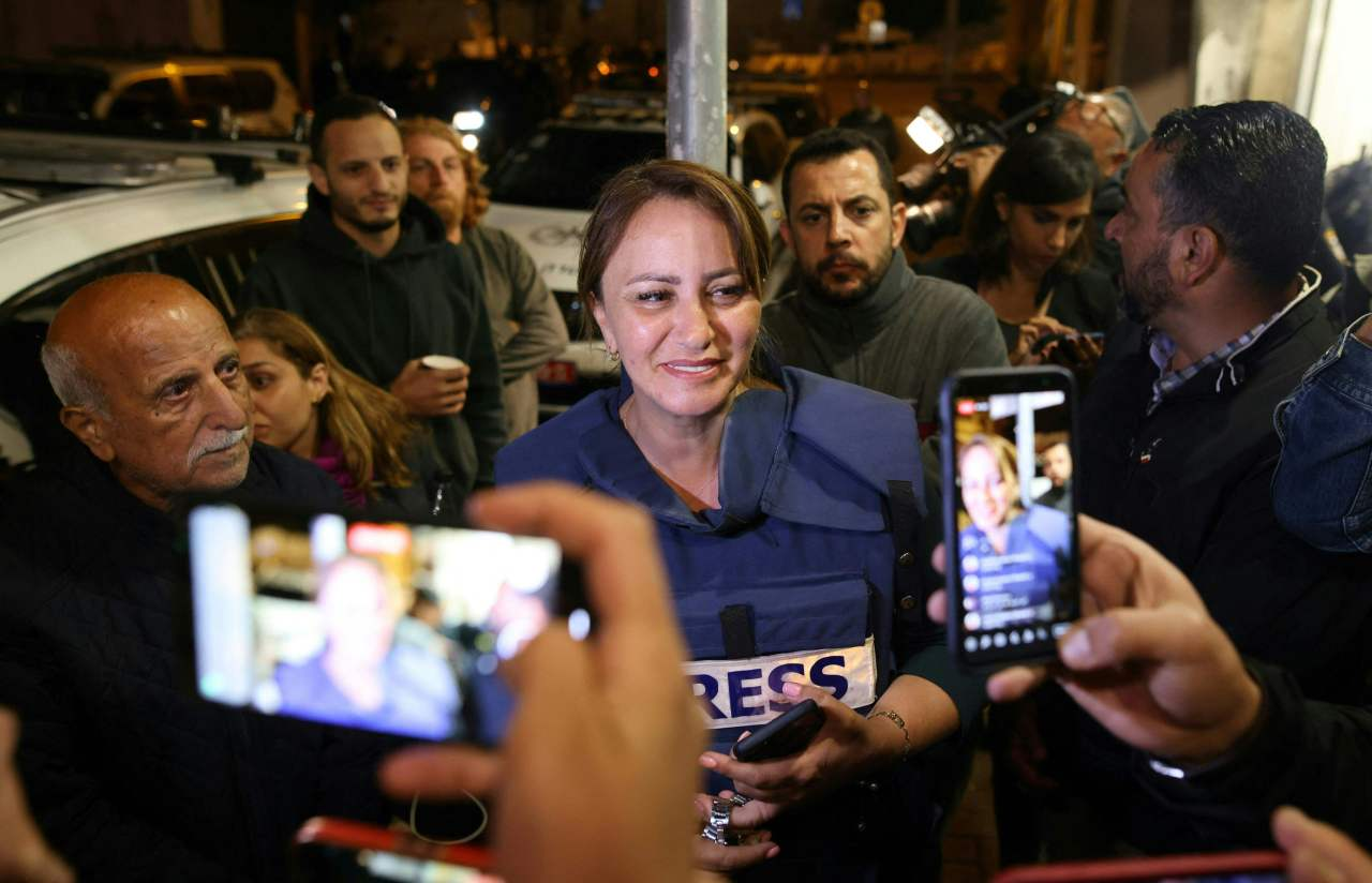 Al Jazeera journalist, Givara Budeiri, is seen after her release from a police station in East Jerusalem, on June 6, 2021. (AP-Yonhap)