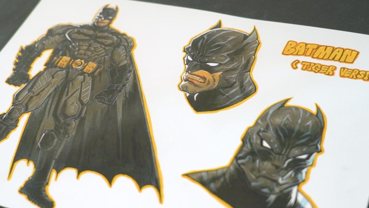 """Park's drawings of """"Batman: Moonin"""" (Kim Hae-yeon/ The Korea Herald)"""