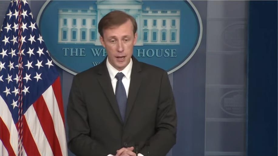 The image captured from the website of the White House shows National Security Adviser Jake Sullivan speaking in a press briefing at the White House in Washington on Monday. (White House)