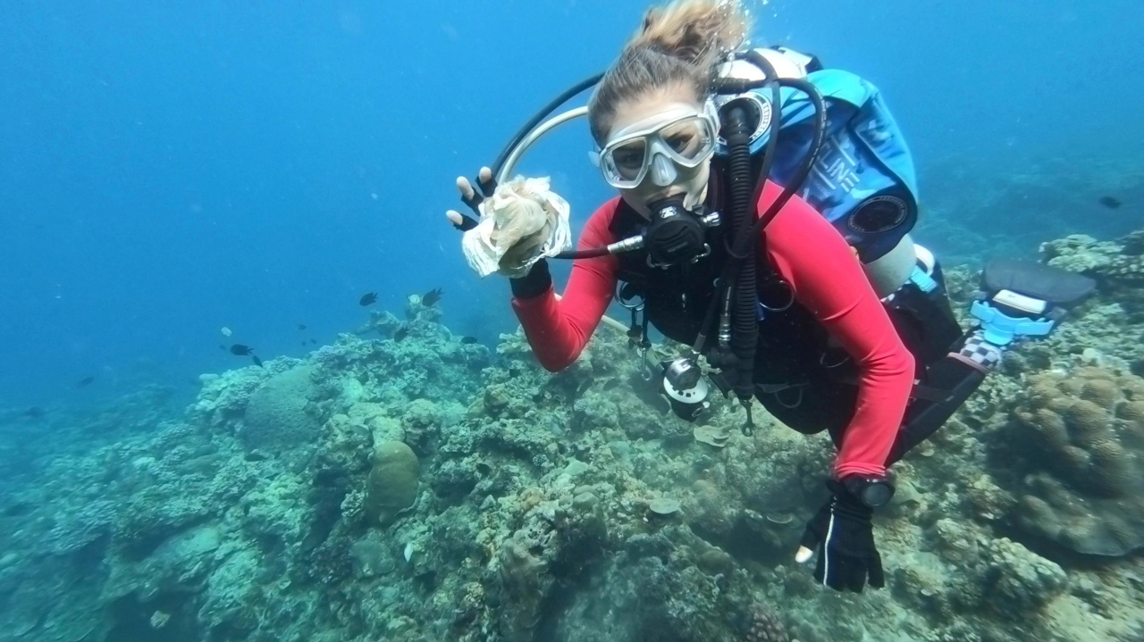 Resort owner and dive instructor Carmela Sevilla shows a plastic trash she recovered underwater during a scuba diving activity in Bauan, Batangas, Philippines, Sunday. (Reuters-Yonhap)
