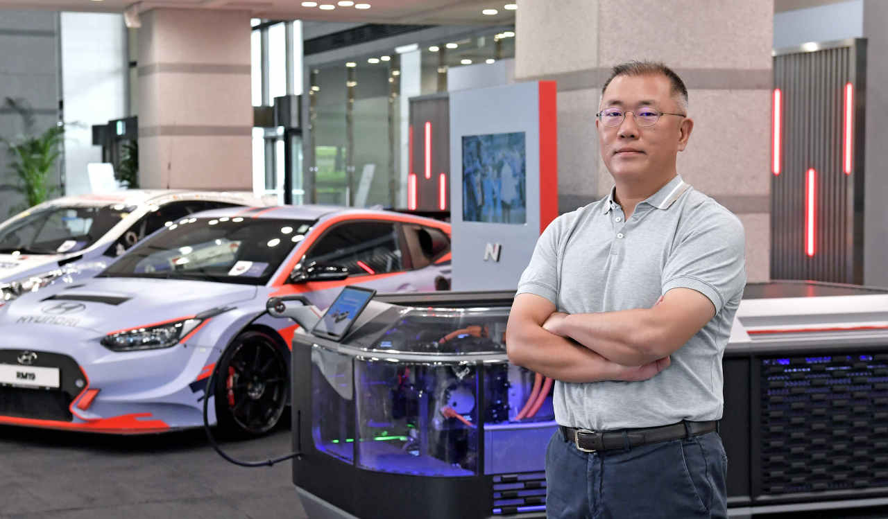 Hyundai Motor Group Chairman Chung Euisun stands in front of a high-end N performance car at the group's headquarters in southern Seoul. (Hyundai Motor Group)