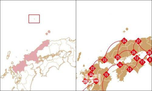 Above Shimane Prefecture, Dokdo is marked as Japanese territory (Yonhap)