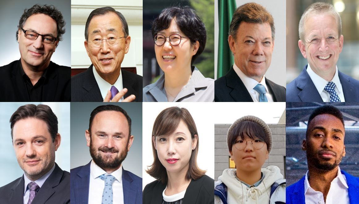 Clockwise from top left: Gerd Leonhard, Ban Ki-moon, Yun Sun-jin, Juan Manuel Santos, John Murton, Matthias Bausenwein, Sam Kimmins, Oh Jeong-hwa, Yoon Hyeon-jeong, Prince Ea (The Korea Herald)