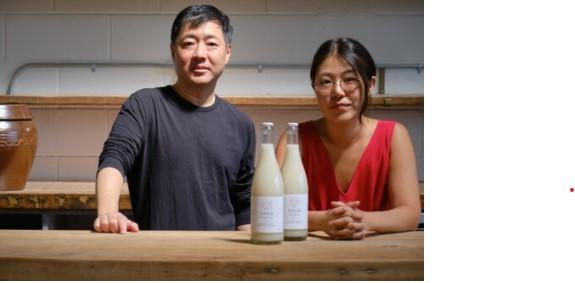Hana Makgeolli founder and brewer Alice Jun (right) and managing partner John Limb (Hana Makgeolli)