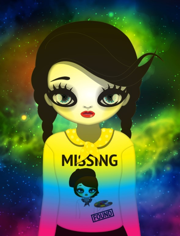 """Mari Kim's NFT art, """"Missing and Found,"""" which was sold at 288 Ether. (The artist's official website)"""