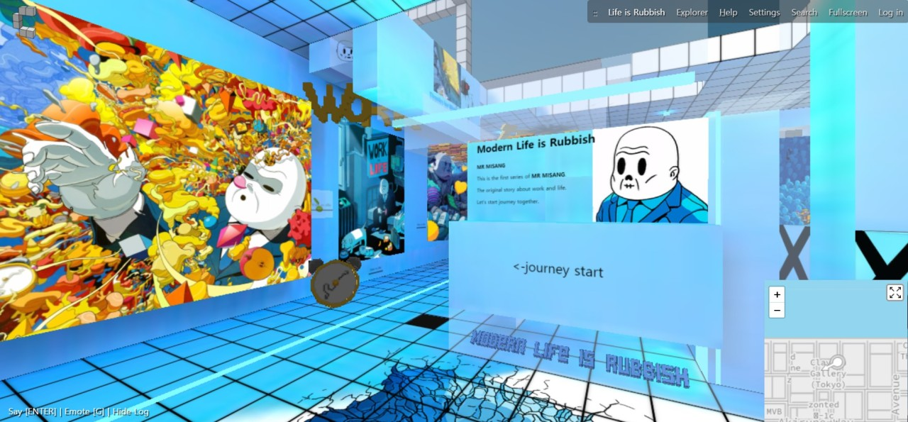 """A screenshot of Mr. Misang's virtual gallery that shows the """"Modern Life is Rubbish"""" series (Park Yuna/The Korea Herald)"""