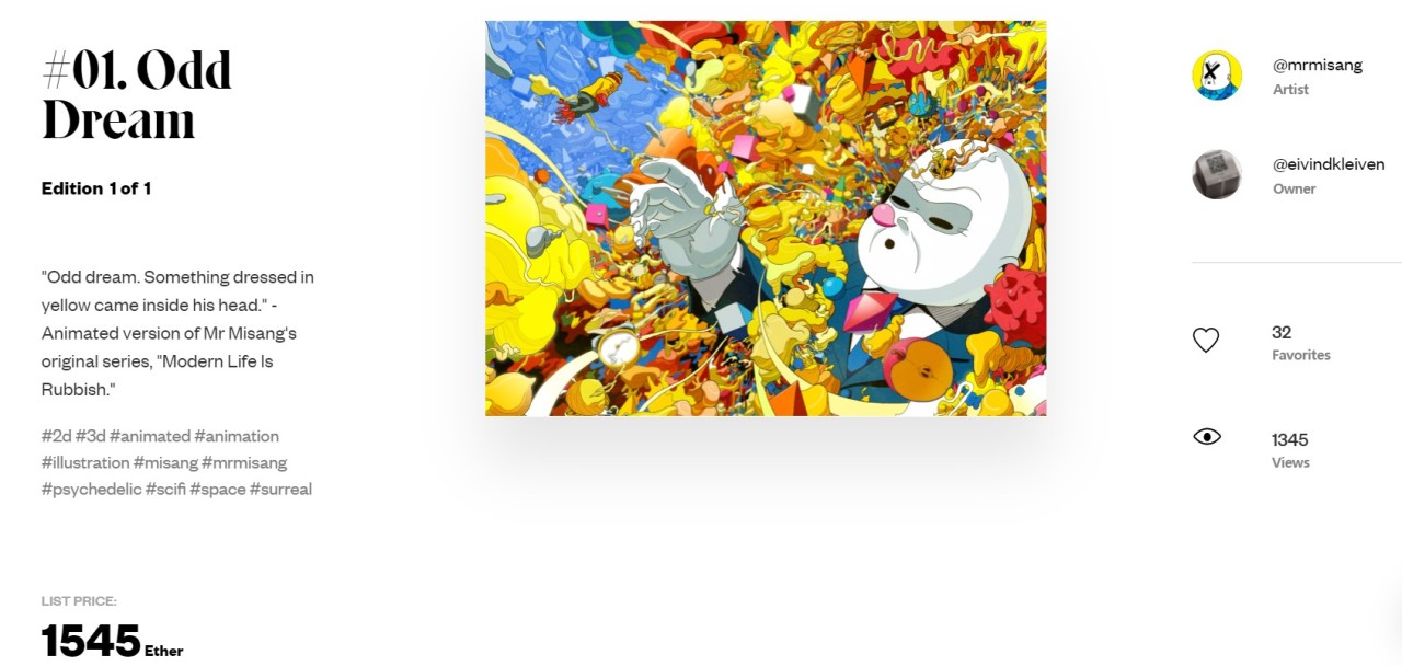"""This screenshot of NFT trading platform SuperRare shows """"Odd Dream,"""" part of Mr. Misan's animated NFT art series """"Modern Life is Rubbish."""" (Park Yuna/The Korea Herald)"""