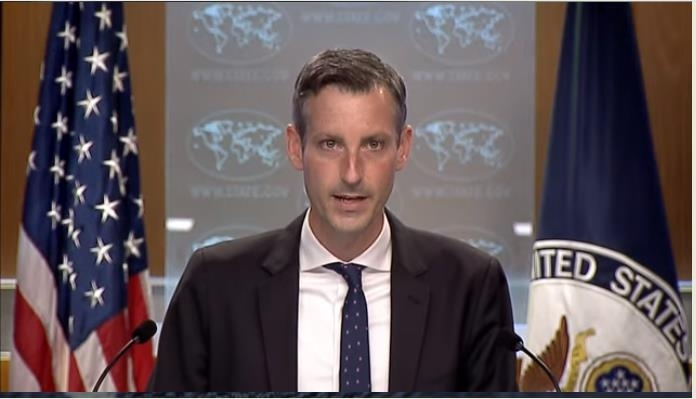The image captured from the website of the US Department of State shows spokesman Ned Price answering questions in a press briefing at the State Department in Washington on Wednesday. (US Department of State)