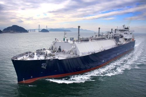 This photo provided by Samsung Heavy Industries Co. on Jan. 5, 2021, shows a liquefied natural gas carrier built by the shipbuilder. (Samsung Heavy Industries Co.)