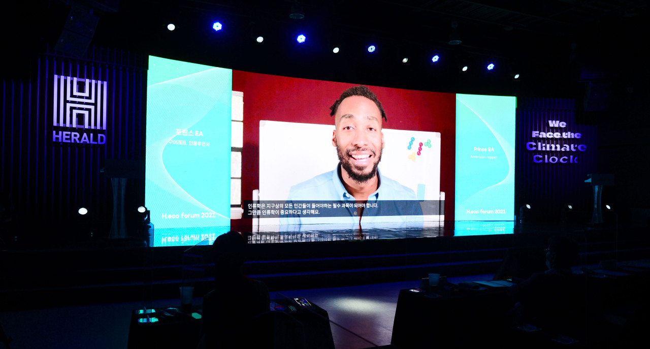 American rapper Prince Ea is shown in a prerecorded video during the H.eco Forum in Seoul on Thursday. (Park Hae-mook/The Herald Business)