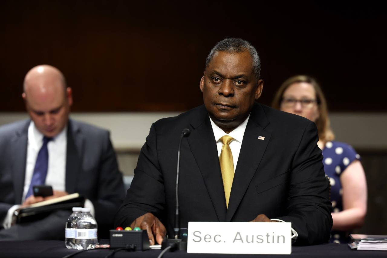 US Secretary of Defense Lloyd Austin listens during a hearing with the Senate Armed Services Committee on Capitol Hill on Thursday in Washington, DC. (AFP-Yonhap)