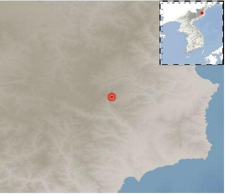 This image, provided by the Korea Meteorological Administration, shows the epicenter of a natural earthquake that hit North Korea's northeastern region on Sunday. (Korea Meteorological Administration)