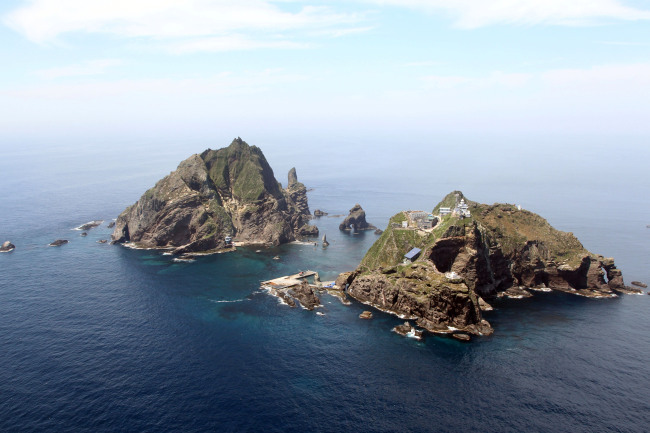 Aerial view of Dokdo islets (The Korea Herald)