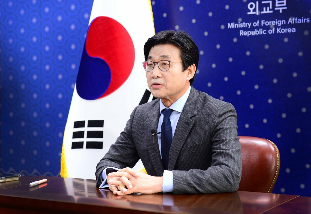 Second Vice Foreign Minister Choi Jong-moon speaks during a videoconference at the foreign ministry in Seoul on Feb. 25, 2021. (Ministry of Foreign Affairs)