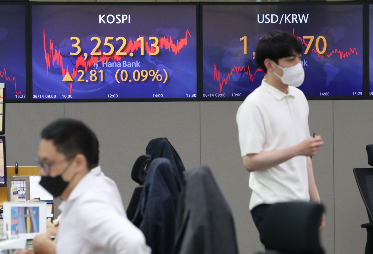 The benchmark Korea Composite Stock Price Index (Kospi) figures are displayed at a dealing room of a local bank in Seoul, Monday. (Yonhap)