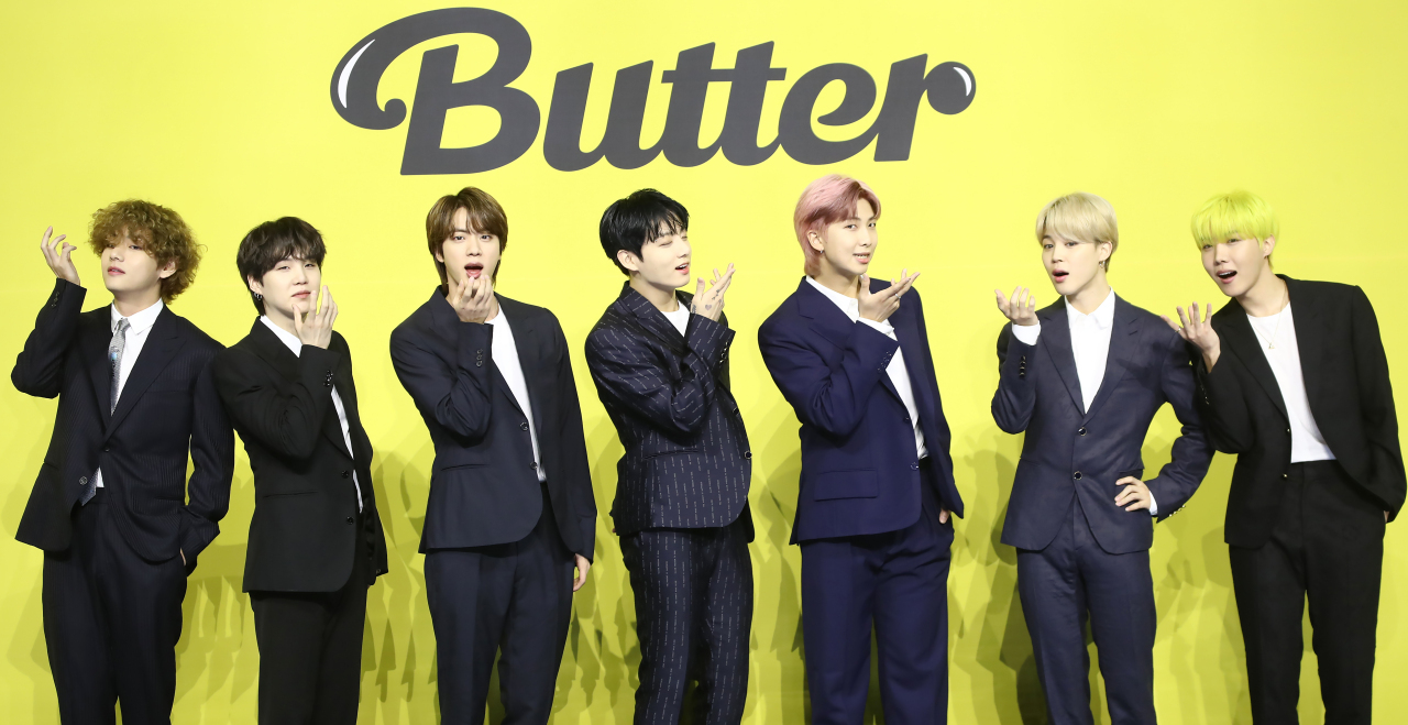 Seven-piece act BTS poses during a news conference for its new digital single