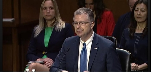 The image captured from the website of the Senate Foreign Relations Committee shows Daniel Kritenbrink, nominee for assistant secretary of state for East Asian and Pacific affairs, delivering opening remarks in a confirmation hearing in Washington on Tuesday. (Senate Foreign Relations Committee)