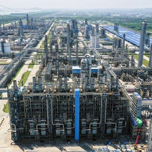 This photo, provided by SK Global Chemical Co. on Wednesday, shows its joint venture chemicals plant in the Chinese city of Wuhan. (SK Global Chemical Co.)