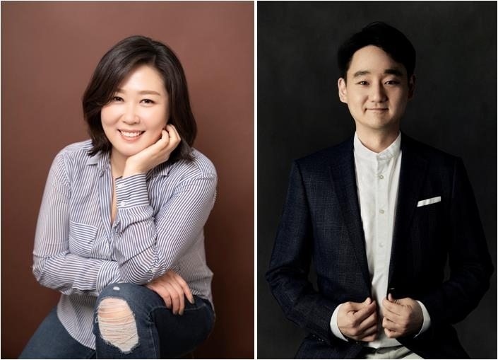 These photos provided by Netflix shows its Vice Presidents Kim Min-young (L) and Kang Dong-han. (Netflix)