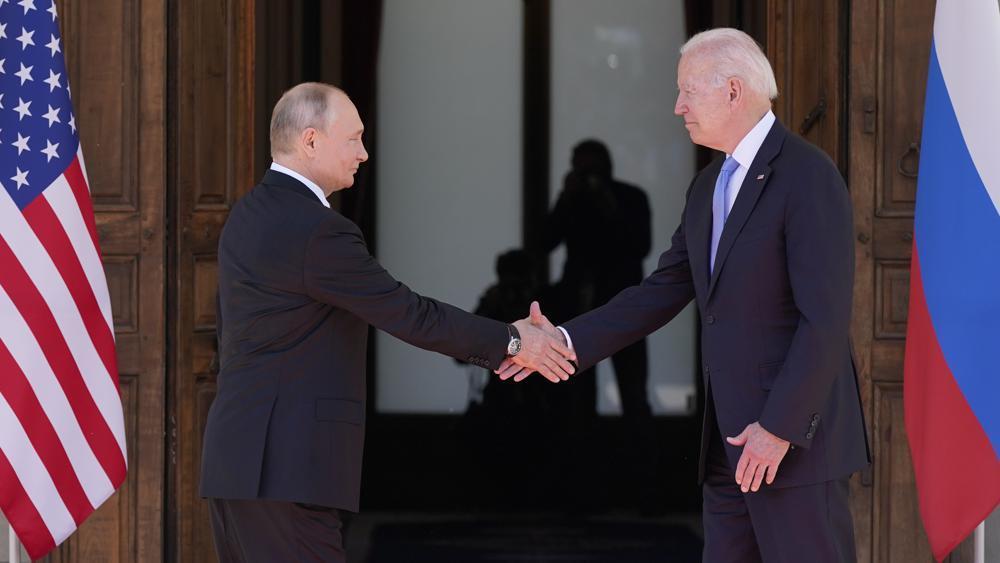 President Joe Biden and Russian President Vladimir Putin, arrive to meet at the 'Villa la Grange', Wednesday, in Geneva, Switzerland. (AP)