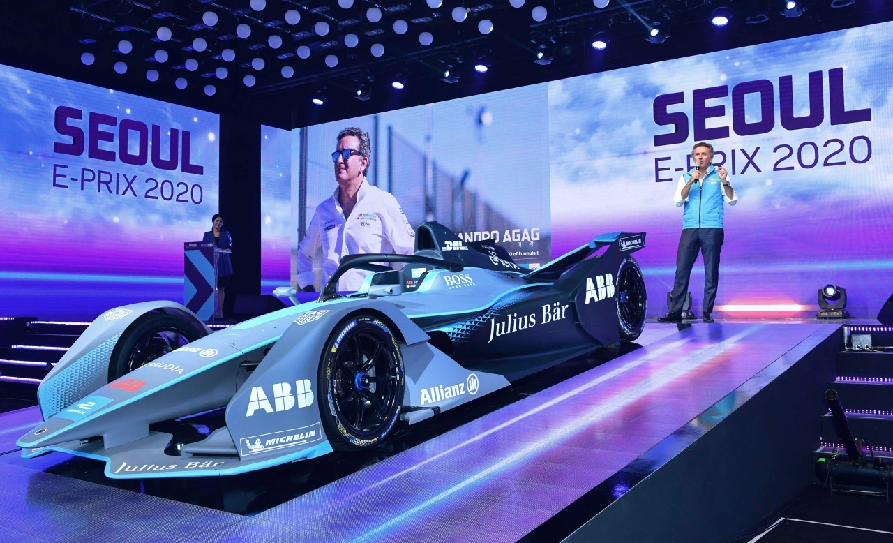 Alejandro Agag, founder and CEO of Formula E, speaks during a press conference for Seoul E-Prix 2020 in Seoul in June 2019. The event was canceled later on due to COVID-19 pandemic but is not rescheduled to be held in August 2022. (Formula E Korea)