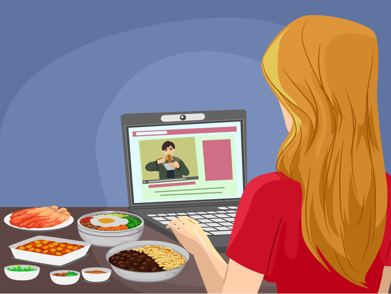 A woman eats dinner while watching meokbang on her laptop. (123rf)