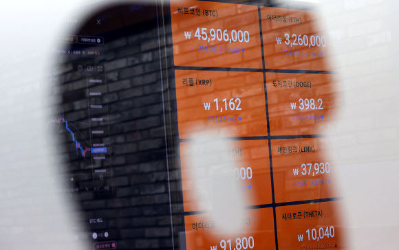 A digital board shows prices of cryptocurrencies at Bithumb. (Yonhap)