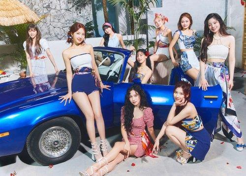 This photo provided by JYP Entertainment shows K-pop girl group TWICE. (JYP)