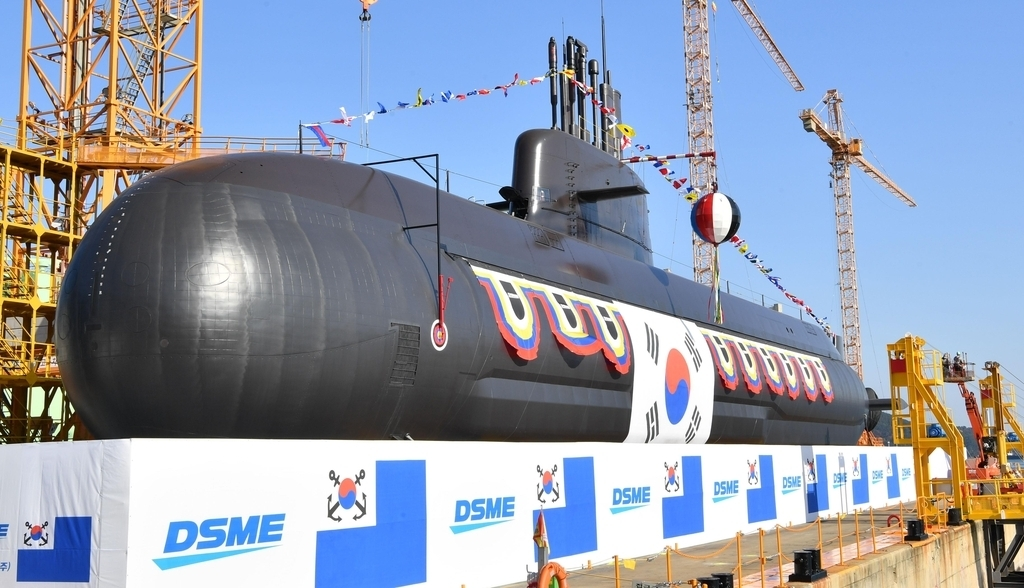 South Korea's new 3,000-ton-class indigenous submarine, Ahn Mu, is anchored at the Okpo Shipyard of Daewoo Shipbuilding and Marine Engineering Co. in the southeastern city of Geoje on Nov. 10, 2020, as the Navy prepared to hold a launching ceremony the same day for the mid-class diesel-powered submarine, named after a prominent Korean independence fighter. (Yonhap)