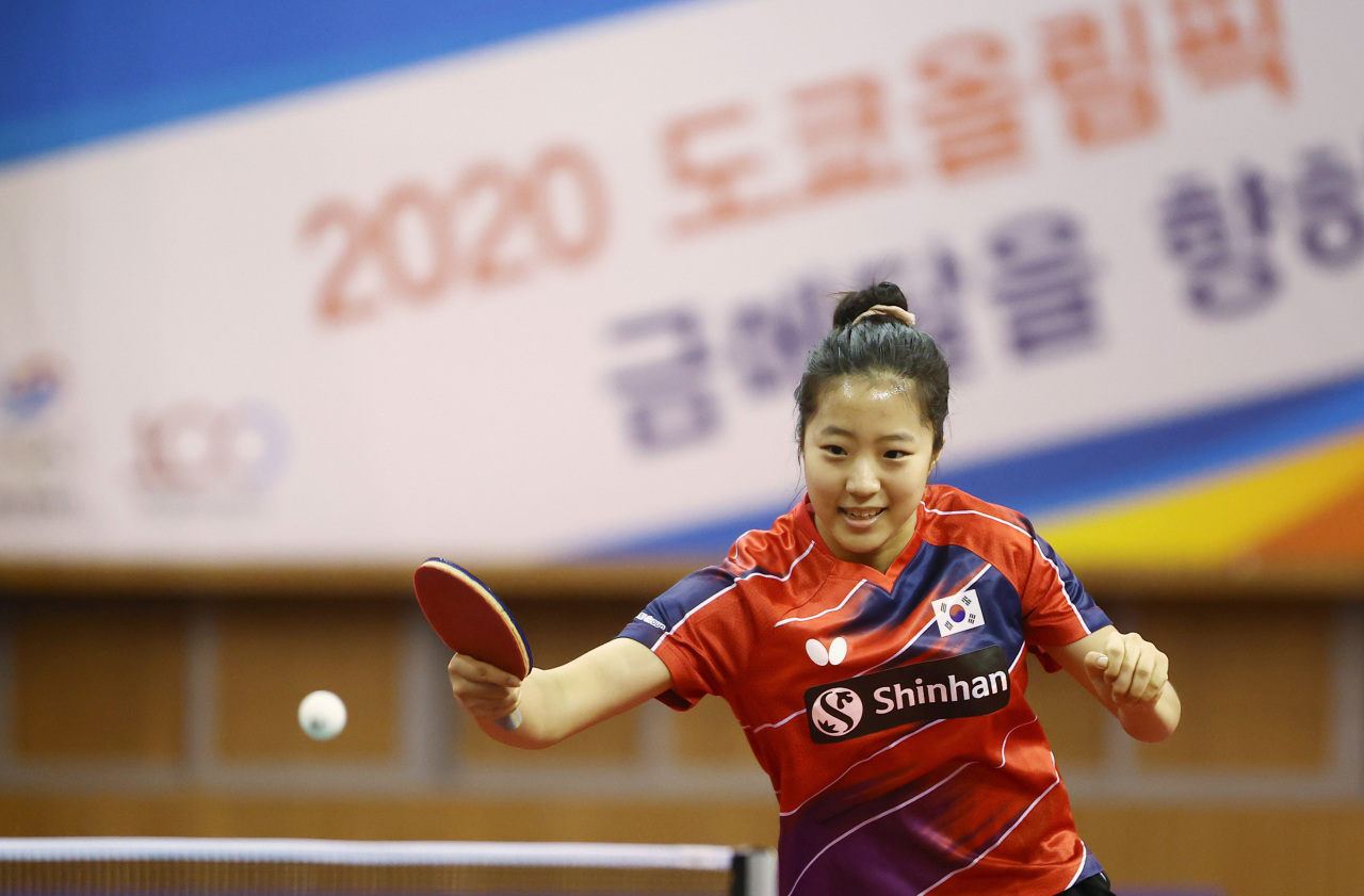 In this file photo from June 2, 2021, South Korean table tennis player Shin Yu-bin practices at the Jincheon National Training Center in Jincheon, 90 kilometers south of Seoul. (Yonhap)
