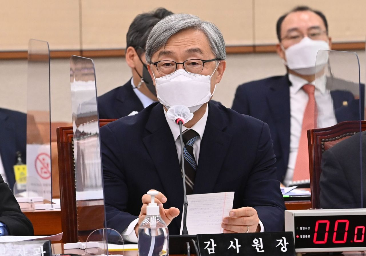 Choe Jae-hyeong, the incumbent chief of the Board of Audit and Inspection, speaks during a parliamentary session last Friday. (Yonhap)