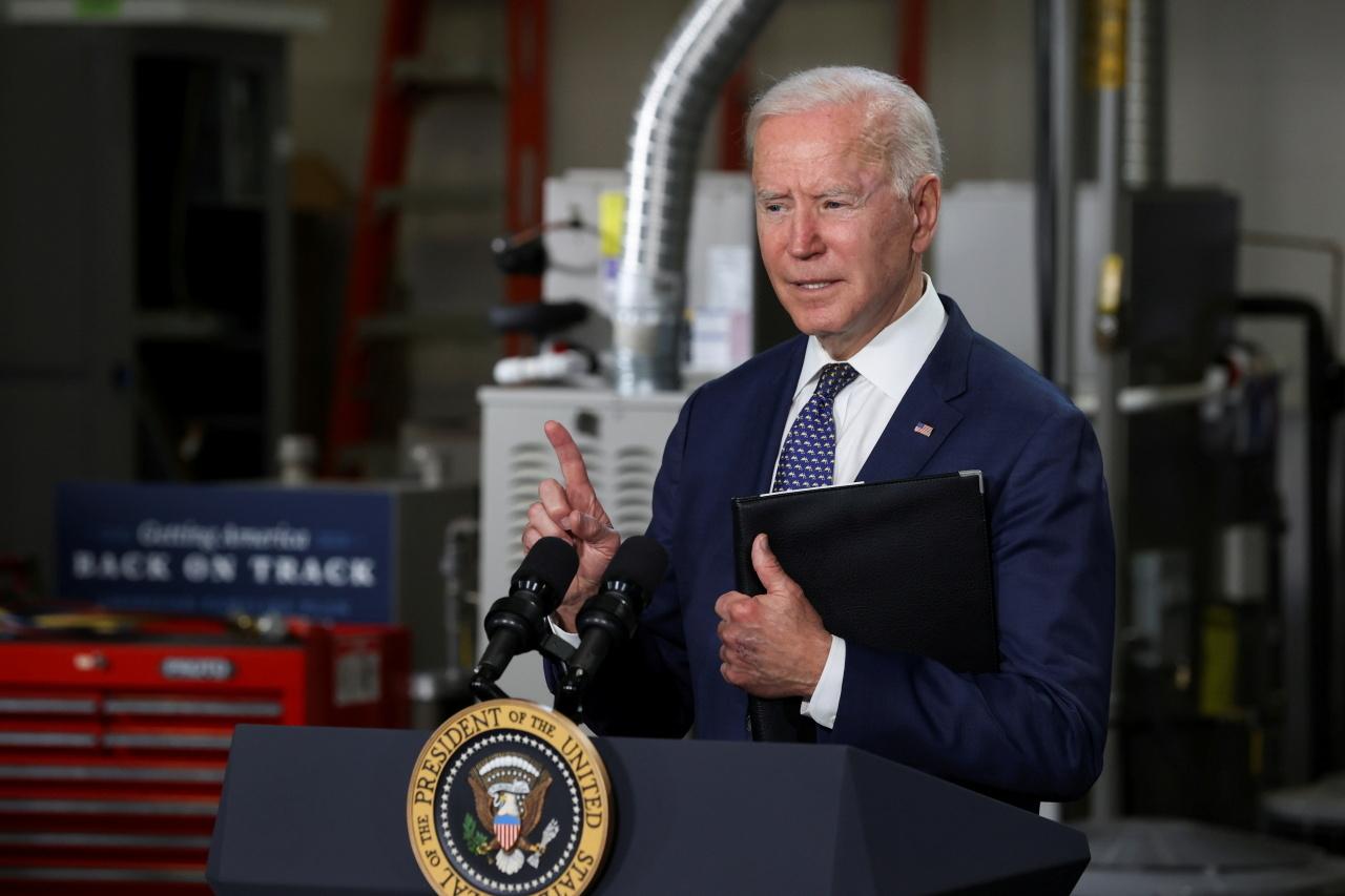 US President Joe Biden delivers remarks during a visit at Tidewater Community College in Norfolk, Virginia, US. (Reuters-Yonhap)