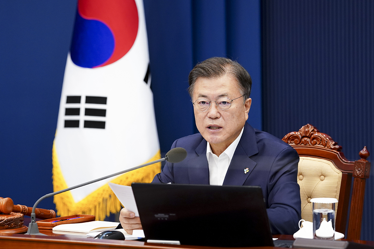 President Moon Jae-in presides over a Cabinet meeting at Cheong Wa Dae on Tuesday. (Cheong Wa Dae)